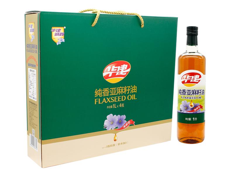纯香亚麻籽油1Lx4瓶(礼盒)